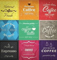 Set of retro coffe label cards vector image vector image