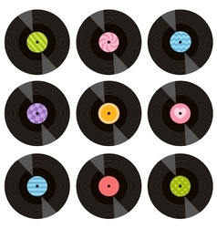 Set of vinil records vector