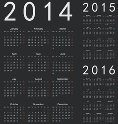 Simple european 2014 2015 2016 year calendars vector image vector image