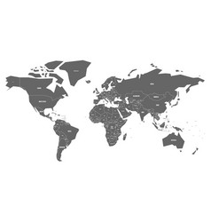 simplified map of world in grey with country name vector image