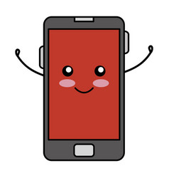 Smartphone device comic character vector