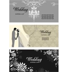 Three wedding cards vector image vector image