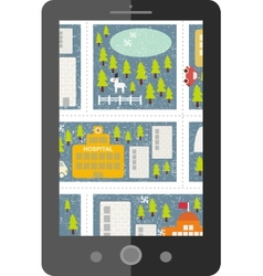 Touch screen tablet gps with winter cartoon map vector image