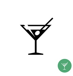 Triangle martini cocktail glass black simple icon vector image vector image