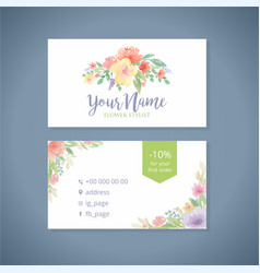 watercolor flowers business card template2 vector image vector image