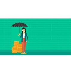 Woman with umbrella protecting money vector image