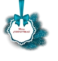 Xmas Gift Card with Ribbon and Fir Branches vector image