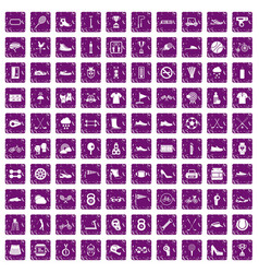 100 sneakers icons set grunge purple vector image vector image