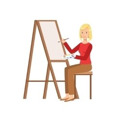 Girl painting on canvas creative person vector