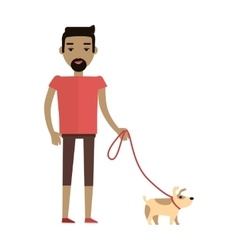 Young man walking his dog vector