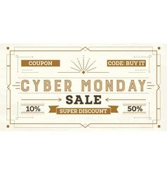Cyber monday sale retro background vector