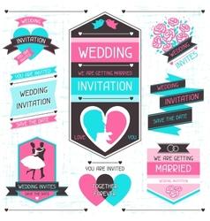 Wedding invitation retro set of design elements vector image