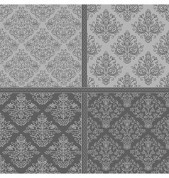 Black seamless damask floral background set vector image