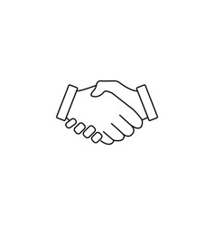 Business handshake line icon deal agreement vector