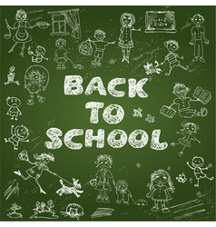 Chalkboard with green surface set of kids drawing vector