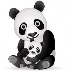 panda family vector image