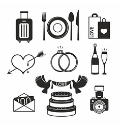 Wedding set icon vector