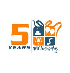 5 years gift box ribbon anniversary vector
