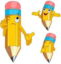 Cartoon pencil character vector