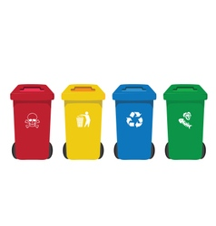 Many color wheelie bins set with waste icon vector