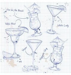 New era cocktail set on a notebook page vector