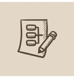 Paper sheet with system parts sketch icon vector