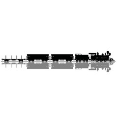 black silhouette of a wild west steam train vector image vector image