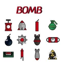 Bomb flat icon set vector image