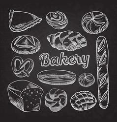 bread bakery food hand drawn doodle blackboard vector image vector image