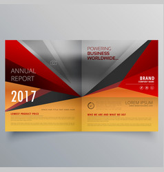 Business bifold brochure design with warm colors vector