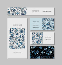 Business cards design russian gzhel ornament vector