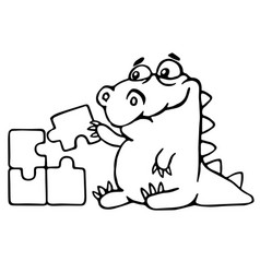 Cute dragon is played and assemble the puzzle vector