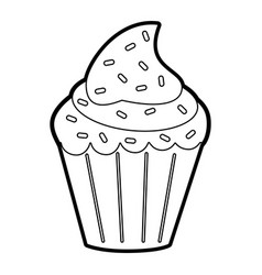Delicious cupcake with sprinkles icon image vector