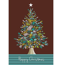 Diversity Christmas Tree hands vector image