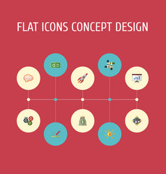 Flat icons cash financing support and other vector