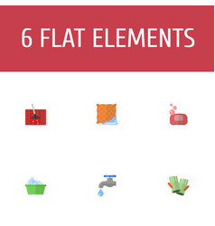 flat icons washcloth faucet laundry and other vector image