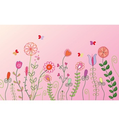 Floral pink banner vector image vector image