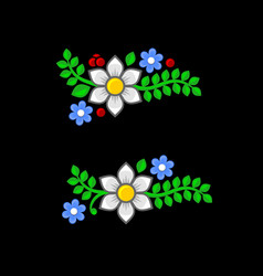 flowers and leaves set on black background vector image vector image