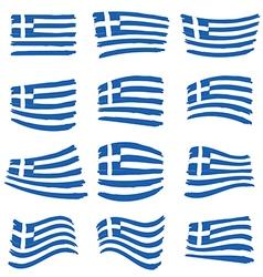 greece flag set art on white background vector image