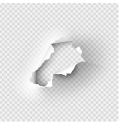 Holes torn in paper on transparent vector