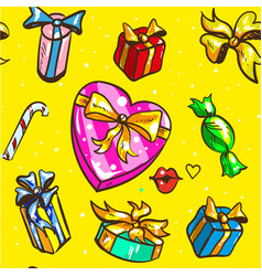 holidays gift boxes seamless pattern on yellow vector image