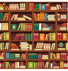 library book shelf seamless pattern of vector image