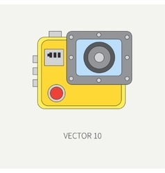 Line flat icon with digital action camera vector