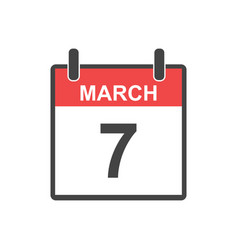 March 7 calendar icon in flat style vector
