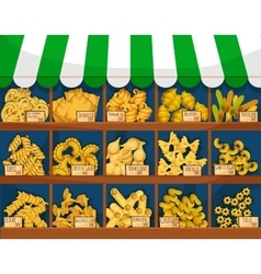 Market counter with italian macaroni or pasta vector image