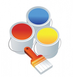 paint buckets brush vector image vector image