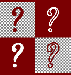 Question mark sign bordo and white icons vector