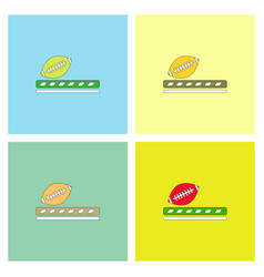 Ragby ball icon set vector