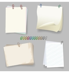 Sheets with paper clip vector image vector image