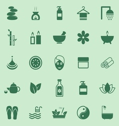Spa color icons on green background vector image vector image